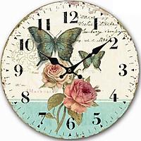 Đồng hồ treo tường Vintage Phong cách Châu Âu size to 30cm DH20 hoa hồng và bướm xanh