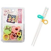 Combo Set khuôn tạo hình đồ ăn ngộ nghĩnh cho bé ham ăn và Đũa nhựa tập ăn cho bé hàng Nhật Bản