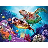 Bimkole 5D Diamond Painting Sea Turtle Full Drill DIY Rhinestone Pasted with Diamond Set Arts Craft Decorations (12x16inch)