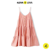 Váy đũi 2 dây 4LOVA ba tầng cổ tim, đầm xòe phối cúc ngực vintage