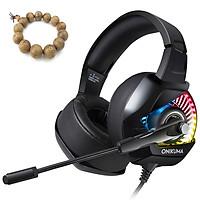 Tai nghe Game thủ Onikuma K6 chụp tai gaming + Tặng kèm vòng tay gỗ Đàn Hương - Hàng nhập khẩu