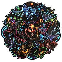 Set 60 Sticker siêu anh hùng Màu neon ảnh decal hình dán ép lụa