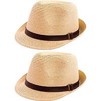 Combo 2 Mũ Cói Đôi Đi Biển Thời Trang Nam Nữ - Kem Sữa (Free Size)