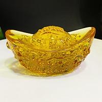 Thỏi vàng Kim Nguyên Bảo size to nhất 12cm đá lưu ly nhân tạo chạm Rồng tinh tế