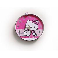 Đồng hồ trang trí treo tường độc đáo HELLO KITTY hồng, kim trôi, không gây tiếng ồn, sản xuất thủ công