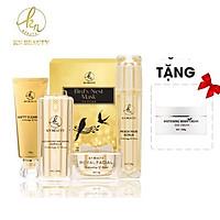 Bộ 5 sản phẩm giúp trẻ hóa da nâng cao GOLD VIP KN  Beauty:  Gel tẩy tế bào chết 50gr + Sữa rửa mặt 100g+ Serum 30ml + Kem dưỡng 25g+ Mặt nạ tổ yến + nhận kèm ủ body KN Beauty