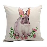 Easter Bunny Pillow Cover Linen Sofa Car Cushion Cover Decor Pillow Case