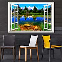 Bức tranh cửa sổ 3D dán tường PHONG CẢNH HỒ NƯỚC 2 lựa chọn bề mặt cán PVC gương hoặc cán bóng, mã số: 00402077L11