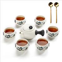 Bộ bình trà 6 tách Tĩnh Tâm chất liệu bột đá và men tráng sứ F90+ Tặng 2 muỗng trà inox 304 màu vàng nguyên khối