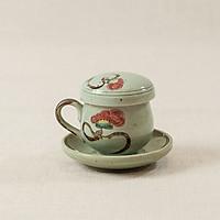 Bộ cốc lọc trà gốm - men xanh vẽ hoa