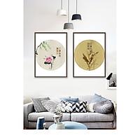 Tranh treo tường phòng khách, phòng ngủ -Tranh treo bộ 2  tấm dọc M12841/ Gỗ MDF cao cấp phủ kim sa/ Chống ẩm mốc, mối mọt/Bo viền góc tròn