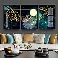 Tranh treo tường, tranh đồng hồ NT226 bộ 3 tấm ghép