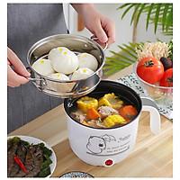Ca Nấu Mì, Nấu Cơm Đa Năng Có Tay Cầm 1,8L - Nồi Lẩu Điện Mini Kèm Giá Hấp INOX + 1 Khay Luộc Trứng