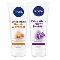 Bộ đôi Serum dưỡng thể NIVEA dưỡng trắng chống nắng, phục hồi Ban ngày 180ml & Ban đêm 200ml