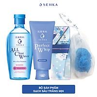 Bộ đôi Senka sạch sâu trắng mịn (Nước tẩy trang Senka Water White 230 ml + Sữa rửa mặt Senka Perfect Whip 120g + Lưới tạo bọt)