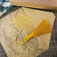 Bookmark thanh đánh dấu sách hình lá phong kèm hộp tặng vòng tay may mắn