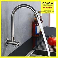 Vòi rửa chén bát âm tường inox 304 KAMA PL78-TS - Hàng chính hãng