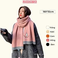 Khăn choàng len dệt kim họa tiết trái bơ - Mã LE06