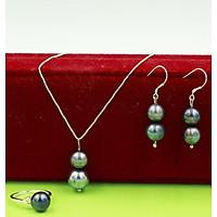 Bộ trang sức bạc đính ngọc trai nữ ánh xám 3 món Dây chuyền - Nhẫn - Bông tai ngọc trai thương hiệu Opal - TS4