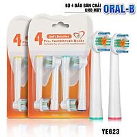 Bộ 4 Đầu Bàn Chải đánh răng điện cho mọi loại máy Braun Oral–B YE623– Làm sạch răng vôi hóa, nhiều mảng bám - Xuất xứ: Anh