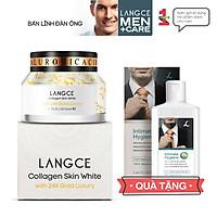 Collagen Skin White Cream 24k Trắng Da, Giữ Ẩm Chống Lão Hóa 50ml cho Nam TẶNG Gel Vệ Sinh Vùng Kín Nam 100ml LANGCE