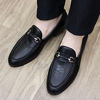 Giày Lười Da Nam Cao Cấp - Chất Liệu Da Mềm 100% - Đế Cao Su CAO 3CM - Mã G004 Màu Đen