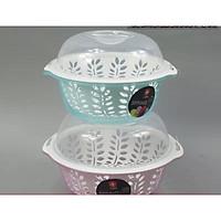 Bộ chậu rổ kèm nắp đậy rửa rau tròn bằn nhựa cao cấp ( Giao màu ngẫu nhiên ) - ANTH227