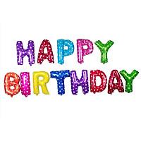 Bong bóng chữ Happy Birthday nhiều màu chấm bi