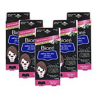Combo 5 Hộp Miếng Dán Mũi Lột Mụn Than Hoạt Tính Biore Pore Pack Black dành cho nữ (1 hộp 4 miếng x 5)