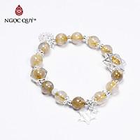Vòng tay đá thạch anh tóc vàng phối charm ngôi sao size hạt 8mm mệnh thủy, kim - Ngọc Quý Gemstones