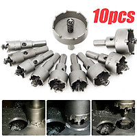 10Pc Carbide Tip TCT Drill Bit Hole Saw Kit Stainless Metal Alloy One Set 16-50mm Saws