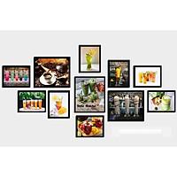 Bộ khung ảnh treo tường composite thức uống 4 tặng đinh 3 chân  KA246