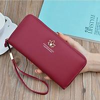 Bóp ví dài nữ cầm tay kiểu dáng Hàn Quốc nhiều ngăn đựng tiền thẻ điện thoại có ngăn kéo ví da PU cao cấp MSP X001-11