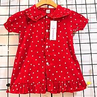 Váy đỏ chấm bi cho bé 8-23kg chất lụa mềm nhẹ mát phối cổ bèo cho bé thêm xinh yêu  – SD080