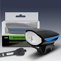 Đèn Xe Đạp Có Còi | Led Sáng 250 Lumens, Sạc USB | Chống Nước Mưa | Sáng Tối Đa 5 Giờ