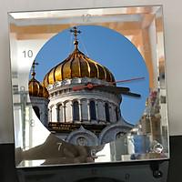 Đồng hồ thủy tinh vuông 20x20 in hình Cathedral Of Christ the saviour (29) . Đồng hồ thủy tinh để bàn trang trí đẹp chủ đề tôn giáo
