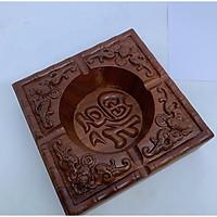 Hộp Gạt tàn nguyên khối bằng gỗ Hương cao cấp- trạm chữ Phúc Hán