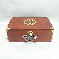 Hộp đựng đồ trang sức, con dấu gỗ hương mặt chữ thọ quai đồng - size 26 POWERFUL