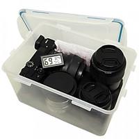 Combo hộp chống ẩm mini, ẩm kế điện tử, 200gram hạt hút ẩm xanh, mút xốp, khăn lau lens cho máy ảnh, máy quay phim - dung tích 4 lít - Hàng chính hãng