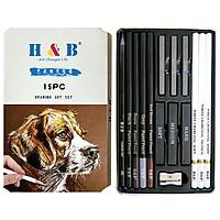 H&B 15Pcs/Set Art Supplies Drawing Kit White Charcoal and Pastel Pencils Set Painting Tools