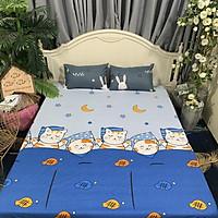 Ga Chống Thấm Cotton LIDACO Loại Dày - Mèo Ngủ Xanh (Nệm 15cm)
