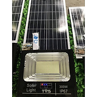 Đèn led pha năng lượng mặt trời 300w IP67 có remote tấm pin rời dây dài 5m