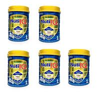 Bộ 5 lon sữa Nuti IQ Gold 1 900g (mới) - Phát triển não bộ và thị giác, Tăng cường sức đề kháng, Phát triển cân nặng - chiều cao, Tiêu hoá - hấp thu tốt, Ngăn ngừa táo bón