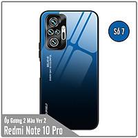 Ốp lưng cho Xiaomi Redmi Note 10 Pro gương cứng 2 màu Gradient Ver 2 , viền TPU dẻo đen