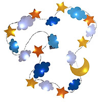 6.6ft LED Fairy String Lights (Battery Powered) 20 Cloud Moon Star LED, Blue