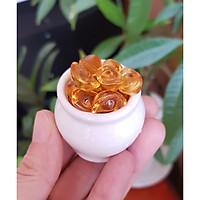 Chum vàng may mắn (gồm 01 chum + 10 thỏi vàng 1.5cm + 7 hạt gốm mèo)