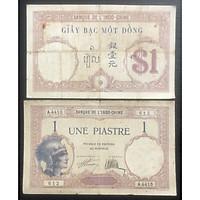 Tiền Việt Nam mệnh giá 1 đồng bạc 193x thời đông dương, tặng kèm bao nilong bảo quản