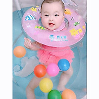 Bể bơi cao thành cho bé kèm phao đỡ cổ - Họa tiết ngẫu nhiên