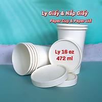 Combo 50 ly giấy + 50 nắp giấy 16oz ~ 472ml. Màu Trắng trơn