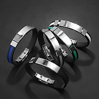 Men Women Bracelet Fashion Silicone Stainless Steel Jewelry